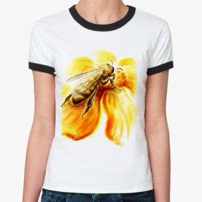 Женская футболка Ringer-T  'Пчёлка'