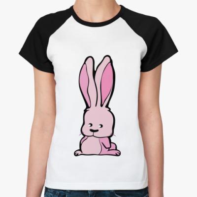 Женская футболка реглан Зайка