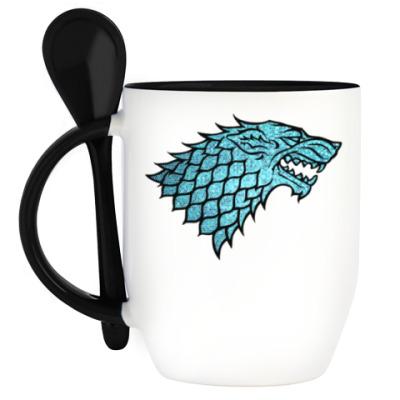 Кружка с ложкой Stark Wolf