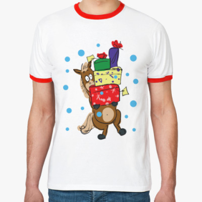 Футболка Ringer-T Новогодняя лошадь с подарками