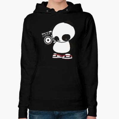 Женская толстовка худи Панда с магнитофоном