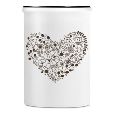 Подставка для ручек и карандашей Цветочное сердце