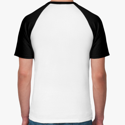 Мужская футболка реглан, бел/ч