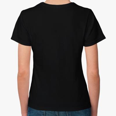 Женская футболка черная Оставайтесь дома