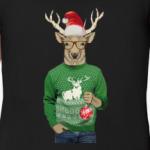 Олень новогодний в свитере и очках с шариком