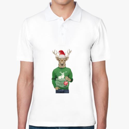 Рубашка поло Олень новогодний в свитере и очках с шариком