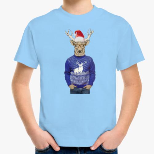 Детская футболка Олень в шапке Санты
