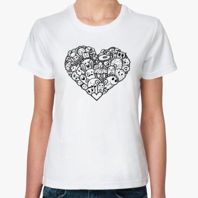 Классическая футболка Дудлосердце